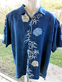 Tommy Bahama Hawaiian Shirt Silk Hawaiian Print Floral Blue White 2XL #TommyBahama #Hawaiian