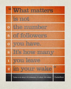 What matters is not the number of followers you have. It's how many you leave in your wake.    Today is not about 140 characters, it's about 100 meters. Clark Olympics Ad