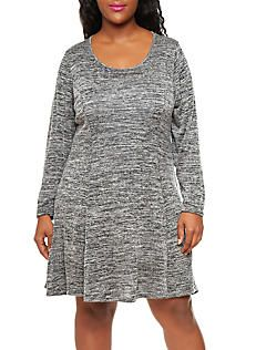 17.00 Plus Size Marled Knit Long Sleeve Skater Dress,CHARCOAL/BLACK