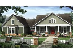 This attractive Craftsman design nicely fits four bedrooms into one story, with a flex space adding even more possibilities. A coffered ceiling draws eyes up in the great room, while the kitchen's snack bar offers a place for casual meals. In the master s