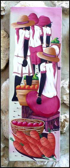 "Haitian Market Women in Pink Canvas Painting - Hand Painted Original Art of Haiti - 10"" x 30 - A-1098"