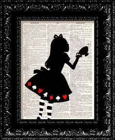 Alice In Wonderland Tea Cup print: Original design, on recycled dictionary page by The Rekindled Page USD9.00 via Etsy