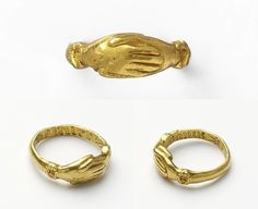 Fede ring, made in England in the 15th century (source).Inscribed: sauns faileur (without fail).