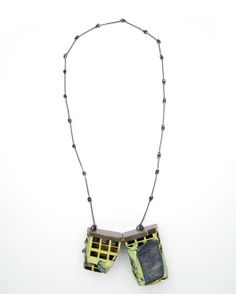 """Demitra Thomloudis - """"Perforated Cleft Slab"""" (2013). Necklace. Cement, plywood, nickel silver, silver solder, pigment. Picture courtesy of t..."""