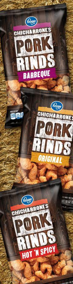Pork Rinds - Packaging designed by Design Resource Center http://www.drcchicago.com/