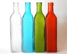 Lot, set of 4 clear, blue, green, orange colored Glass square bottle, 16.9 oz, 500 ml, ornament, DIY, hostess gift, wedding and party favor