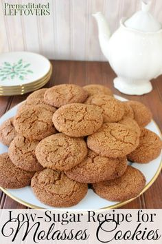 Low-Sugar Molasses Cookies Recipe - These molasses cookies are made with molasses and Stevia In The Raw to create a delicious low-sugar cookie. Stevia Recipes, Low Sugar Recipes, No Sugar Foods, Sugar Free Desserts, Baking Recipes, Cookie Recipes, Dessert Recipes, Stevia Desserts, Low Sugar Cookies