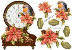 Vintage Clock Shaped Christmas Topper Robin on Craftsuprint designed by Anne Lever - This lovely christmas topper is shaped like a vintage clock, and is embellished with poinsettia flowers and a robin. It has decoupage and four greetings. The greetings are merry christmas, seasons greetings, for you and joyeux noel.  - Now available for download!