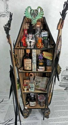 Artfully Musing: Coffin Apothecary with Raven Doors – NEW Collage Sheet & Digital Image Set – VIDEO TUTORIAL