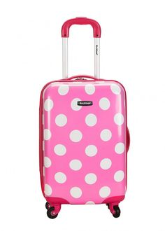 0b0b1090c2c Rockland Luggage 20 Inch Polycarbonate Carry On, Pink Dot, One Size.  Lightweight yet extremely durable polycarbonate abs material.
