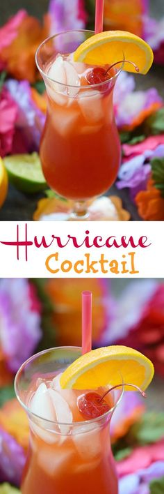 This Hurricane Cocktail seems tame at first with it's fruity flavors, then turns into a full-blown Category 5 if you let your guard down! Festive Cocktails, Wine Cocktails, Summer Cocktails, Cocktail Drinks, Sangria, Alcholic Drinks, Non Alcoholic Drinks, Cocktail Shaker, Hurricane Drink