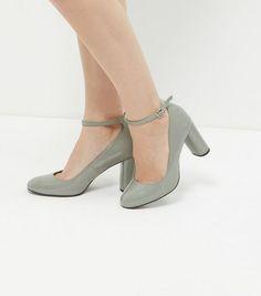 Grey Leather-Look Block Ankle Strap Heels | New Look