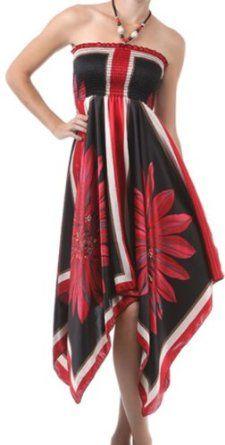 Diamond Flower Satin Feel Beaded Halter Smocked Bodice Handkerchief Hem Dress Sale: $29.99