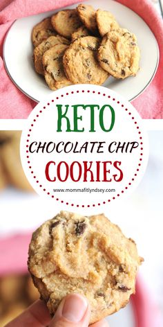 keto chocolate chip cookies recipe for low carb cookie recipes and keto baking Keto chocolate chip cookies made with coconut flour are an easy and delicious way to enjoy low carb cookies! Perfect chocolate chip cookie for keto diet! Keto Chocolate Chip Cookie Recipe, Keto Chocolate Chips, Cookie Recipes, Dessert Recipes, Chocolate Cookies, Cookie Ideas, Keto Foods, Keto Snacks, Dessert Ricotta