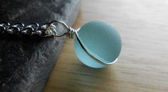 Faux Sea Glass Jewelry  Recycled Marble Necklace by SeaFindDesigns, $18.00