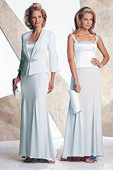 Trumpet/Mermaid Straps Floor-length Chiffon Elastic Woven Satin Mother of the Bride Dress