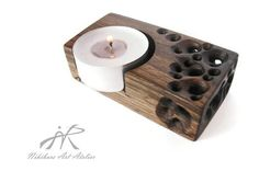 Wooden Candle Holder Hand Carved Wood by NikibarsNatureArt on Etsy