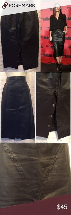 """Vintage black leather skirt pencil Sexy black leather pencil midi with back snaps along bottom half. Skirt is fully lined in great condition, has awesome slimming lines, by Wilson Leather, no flaws.  Third picture is lighten too show line/stitching on front of skirt. Forth picture is of back of skirt. This skirt reads a size 12 but would better fit  a 10, vintage pieces usually run smaller please go by measurements for a prefect fit.  High natural Waist; 28"""" Hips; 37"""" Length;  31"""" Vintage…"""