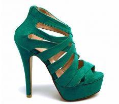 Wysoka sexowna SZPILKA Sandały z Cholewką - zielone