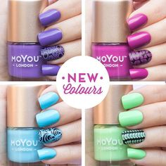 """""""We've just added four sweet NEW COLOURS to our stamping nail polish collection for you guys! You can now buy Beach House, Winter Green, Party Pink and Purple Punch from our website: http://www.moyou.co.uk/polish.html HAPPY FRIDAY #MYL #moyoulondon #newrelease #nailart #stamping #nailpolish #mani #beachhouse #wintergreen #partypink #purplepunch #summer #colours #love"""" Photo taken by @moyou_london on Instagram, pinned via the InstaPin iOS App! http://www.instapinapp.com (07/17/2015)"""
