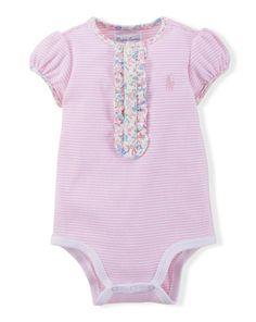 Striped Cotton Bodysuit - Baby Girl Polo Tops & Bodysuits - RalphLauren.com