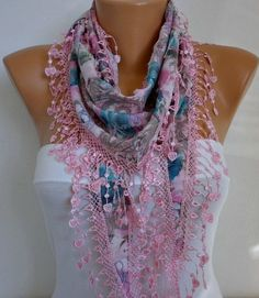 ON SALE - Spring Celebrations Heart Scarf Multicolor Scarf - Cotton Scarf - Cowl with Lace Edge  - For Her  Fashion Accessories