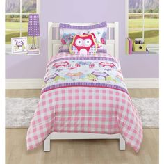 Garden Owl Polyester Comforter Set with Decorative Pillow