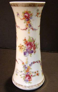 Antique hatpin Holder RS Prussia Porcelain Roses Lilacs Gilt German