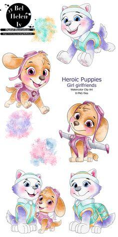Paw Patrol Pups, Easy Drawings For Kids, Cute Cartoon Drawings, Baby Drawing, Cute Dragons, Clip Art, Cute Illustration, Cute Wallpapers, Cute Puppies