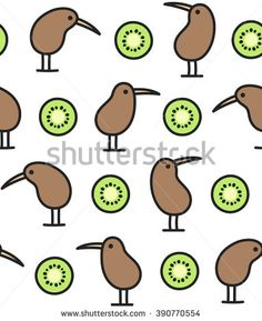 Seamless pattern of kiwi birds and fruits. Cute simple doodle drawing.