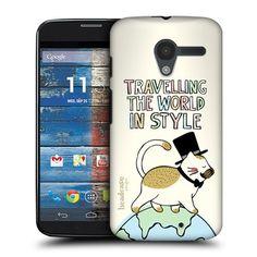 8.50 Head Case Designs Travelling Cat World Travellers Hard Back Case Cover for Motorola Moto X