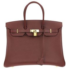 Hermes Epsom Leather Birkin 35cm Contour Rouge H Bag is an iconic bag named after Jane Birkin. This bag was made in 2015, featured in classic Hermes burgundy epsom leather and gold hardware this Birkin bag features a sophisticated & rich color that will match everything in your wardrobe. The lock and key will keep all your valuables safe when attached to the turnlock. The spacious interior has a zipper pouch and open pocket to hold all your essentials. This is a classic and beautiful bag ...