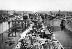 the Panama Canal. Construction of Gatún's upper locks, 1912.