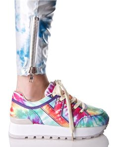Y.R.U. Tune Rainbow Tie Dye Sneakers we luvv listenin' to yer sweet songs, bb~ These dope sneakers feature a sleek fabric construction in a supa colorful rainbow tie-dyed print, purple vegan leather trim, thick white platform with contrasting treaded sole, 'Y' style side logo, embroidered alien on tha back of the heel, and full length lace-ups!