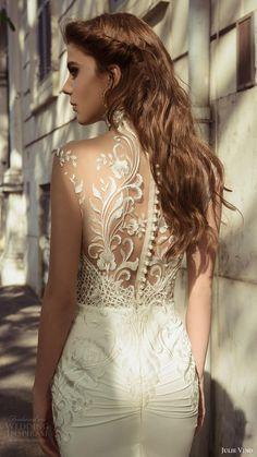 julie vino bridal spring 2017 sleeveless sweetheart illusion high neck sheath wedding dress (octavia) zbv sheer back train