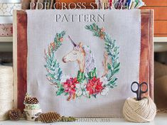 Watercolor Winter Unicorn PDF cross stitch pattern / instant download; pattern finish picture available