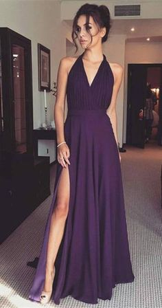 purple long prom dress evening dress, 2018 halter purple long prom dress graduation dress with slit