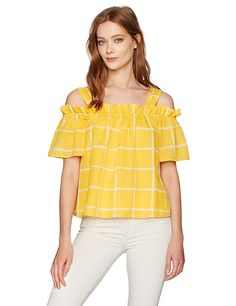 Moon River Women's Cold Shoulder Top, Yellow Grid, X-Small at Amazon Women's Clothing store: