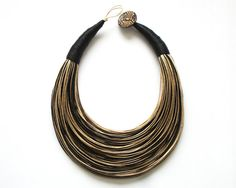 Black and Natural Statement Necklace by superlittlecute on Etsy