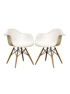 $226 Lisette Tower Arm Chair, White (Set of 2)