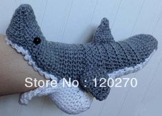 Free Shipping Handmade Crochet Booties Shark Slipper Socks Baby ...