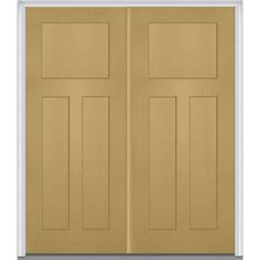 Milliken Millwork 66 in. x 81.75 in. 3 Panel Shaker Painted Fiberglass Smooth Exterior Double Door, Sandal