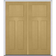 Milliken Millwork 74 in. x 81.75 in. 3 Panel Shaker Painted Fiberglass Smooth Exterior Double Door, Sandal