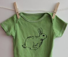 Bunny Rabbit Onesie, Cotton baby bodysuit, easter, spring, green or custom colors, Easter bunny. $16.00, via Etsy.