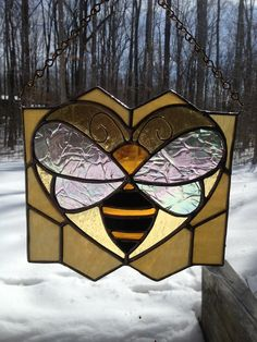 Stained Glass Honey Bee LOVE by GlassStudio820 on Etsy
