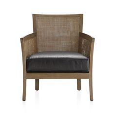 Blake Grey Wash Chair with Leather Cushion | Crate and Barrel