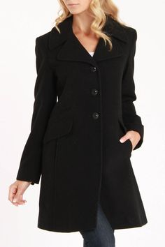 Larry Levine Katerina Wool Coat In Black - Beyond the Rack