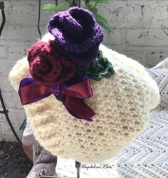 Handmade Baby, Handmade Clothes, Crochet Baby, Knit Crochet, Small Rose, Purple Satin, Girls Sweaters, Pink Sweater, Beret