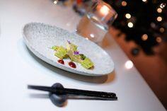 Amuse, Foie Gras Parfait, on the NYE Kaiseki dinner menu. (Photo: Steven Branco for View the VIBE) Dinner For 2, Dinner Menu, Foie Gras, Nye, Parfait, Sushi, Toronto, Canning, Drinks