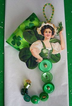An Irish Colleen made for a swap. Irish Celebration, Vintage Fairies, Button Art, Vintage Ephemera, St Patricks Day, Scrapbook Paper, Art Dolls, Easy Crafts